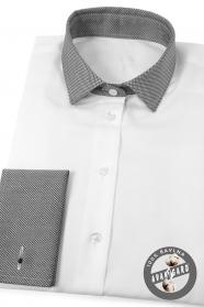 Biała damska koszula na spinki, szary kołnierz