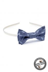 Opaska do włosów z muszką, niebieska ze wzorem