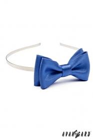 Niebieska, błyszcząca opaska do włosów z muszką