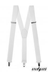 Białe męskie szelki z białą skórą i metalowymi klipsami