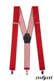 Czerwone szelki ze środkową częścią ze skóry, metalowe klipsy