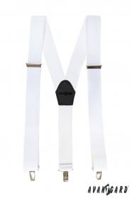 Białe szelki z czarną skórą i metalowymi klipsami