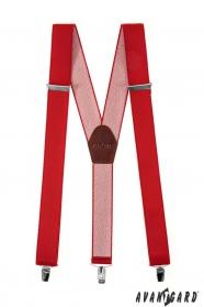 Szerokie czerwone szelki z metalowymi klipsami