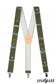Szelki rybackie z beżową skórą i metalowymi klipsami
