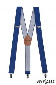 Niebieskie szelki z brązową skórą i metalowym zapięciem