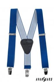 Szelki Royal Blue dla chłopca, czarna skóra i klipsy metalowe
