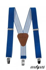 Niebieskie szelki dla chłopców, brązowa skóra i zapięcie na klipsy metalowe