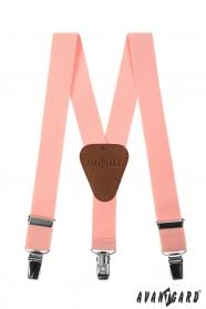 Różowe szelki dla chłopców, brązowa skóra i klipsy metalowe