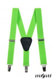 Zielone, neonowe szelki dla chłopców, czarna skóra, metalowe klipsy