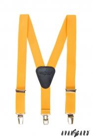 Żółte szelki dla chłopca, czarna skóra i zapięcie na klipsy metalowe