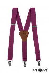 Szelki chłopięce w kolorze fioletowym z brązową skórą i klipsy metalowe