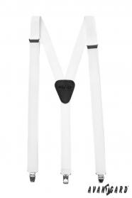 Białe szelki Y z czarną skórą, metalowe klipsy