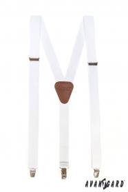 Białe szelki męskie z brązową skórą i metalowym zapięciem
