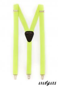 Szelki Y z czarną skórą, metalowym zapięciem, żółty neon