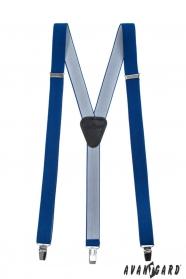 Szelki z czarną skórą i metalowymi klipsami, królewski niebieski