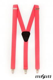 Szelki Y - 25 mm - koralowy neon, czarna skóra