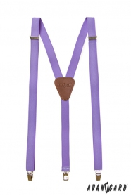 Męskie liliowe szelki z brązową skórą i metalowym zapięciem