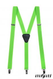 Szelki z czarną skórą, zapięcie na klipsy, zielony neon