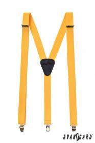 Szelki Y żółty kolor z czarną skórą, zapięcie na klipsy