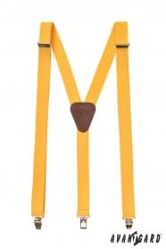 Żółte męskie szelki z brązową skórą i metalowymi klipsami