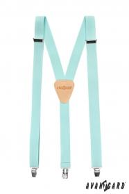 Szelki w kolorze niebieskim lazurowym z beżową skórą i klipsy metalowe