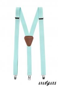 Szelki męskie w jasnym miętowym kolorze z metalowymi klipsami