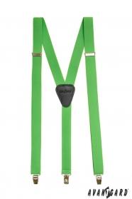 Zielone szelki Y z czarną skórą i zapięciem na klipsy