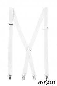 Białe szelki męskie z metalowymi klipsami