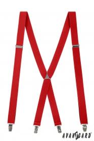 Czerwone szelki z metalowym środkiem i zapięciem na metalowe klipsy