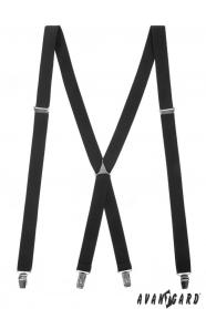 Czarne szelki X z metalową częścią środkową i zapięciem na klips