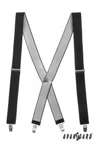 Czarne szelki z metalową częścią środkową i zapięciem na klipsy