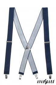 Ciemnoniebieskie szelki z metalową częścią środkową i zapięciem na klipsy