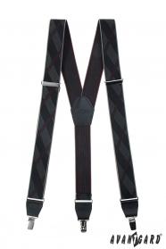 Czarne wzorzyste szelki z metalowymi klipsami