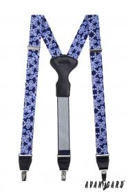 Niebieskie wzorzyste szelki, czarna skóra i metalowe klipsy