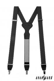 Czarne szelki z białymi kropkami, czarną skórą i metalowymi klipsami