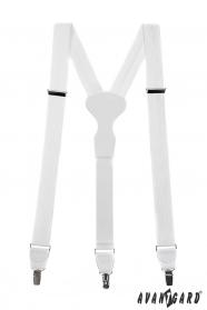 Białe szelki strukturalne z białą skórą i metalowym zapięciem