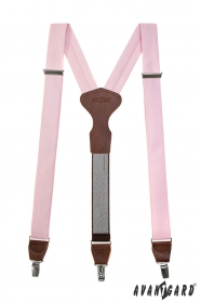 Różowe szelki z tkaniny z brązową skórą i zapięciem na klipsy