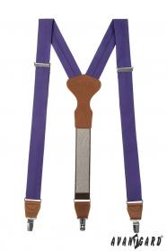 Fioletowe szelki Y z brązową skórą i metalowym zapięciem
