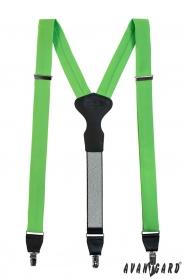 Szelki z zielonej tkaniny z czarną skórą i zapięciem na klipsy
