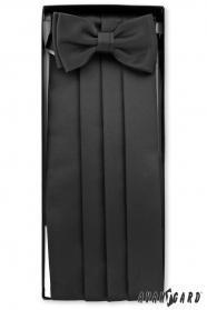 Pas smokingowy z muszką i poszetką w kolorze czarnym