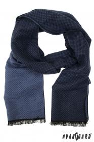 Niebieski szalik męski w drobne kropki