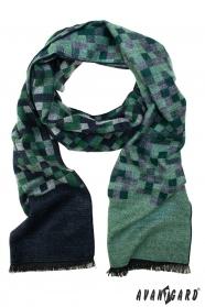 Niebiesko-zielony szal w kratę