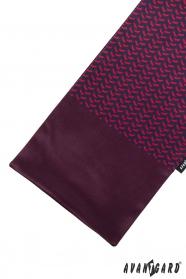 Bordowy szalik w czerwono-niebieski wzór