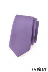 Fioletowy matowy wąski krawat