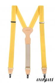 Żółte trzypunktowe szelki z beżową skórą i zapięciem na klipsy