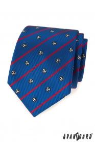 Niebieski krawat piłkarski z czerwonym paskiem