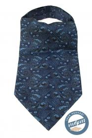 Niebieski ascot z jasnoniebieskim wzorem Paisley