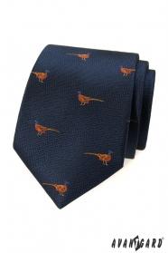Niebieski krawat w bażantowy wzór