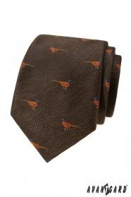 Brązowy krawat w bażantowy wzór