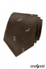 Brązowy krawat z jeleniem